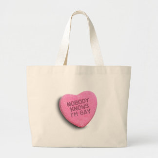 NOBODY KNOWS I'M GAY CANDY TOTE BAG