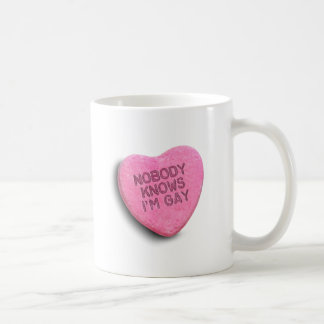 NOBODY KNOWS I'M GAY CANDY COFFEE MUGS
