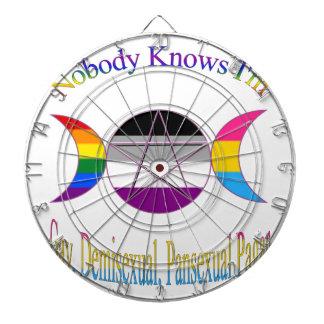 Nobody Knows I'm Gay Demisexual Pansexual Pagan Dart Board