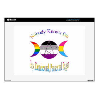 """Nobody Knows I'm Gay Demisexual Pansexual Pagan Decals For 15"""" Laptops"""