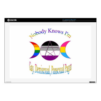 """Nobody Knows I'm Gay Demisexual Pansexual Pagan Decals For 17"""" Laptops"""