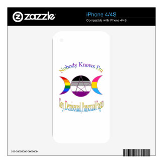Nobody Knows I'm Gay Demisexual Pansexual Pagan iPhone 4S Skin