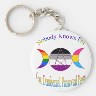 Nobody Knows I'm Gay Demisexual Pansexual Pagan Keychain