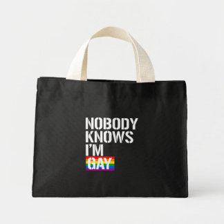 Nobody Knows I'm Gay - - LGBTQ Rights -  -  Mini Tote Bag