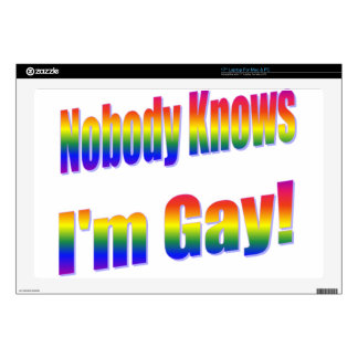 """Nobody Knows I'm Gay Rainbow Skins For 17"""" Laptops"""
