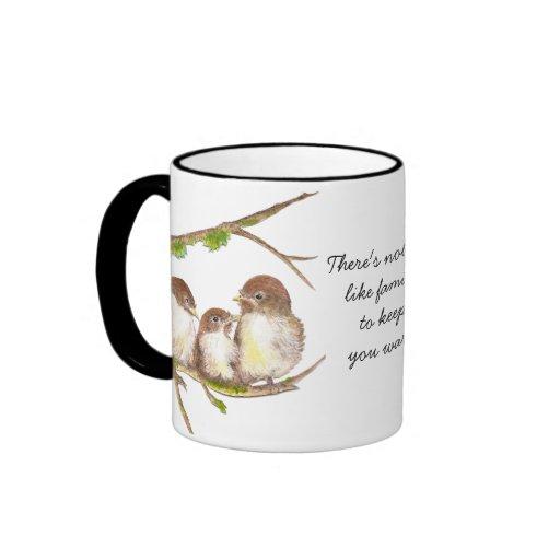 Nobody Like Family Quote, Cute Bird Sparrow Mug