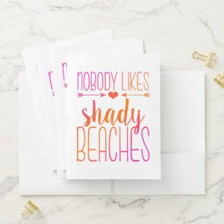 Nobody Likes Shady Beaches Pink and Orange Ombre Pocket Folder
