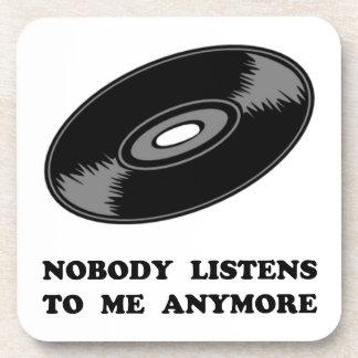 Nobody Listens Vinyl Beverage Coaster