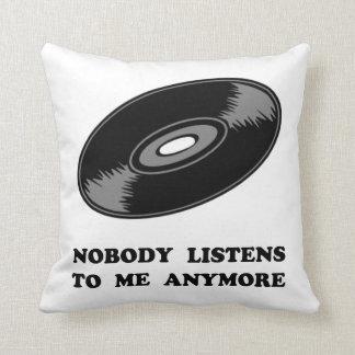 Nobody Listens Vinyl Throw Pillow