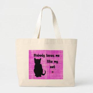 Nobody Loves Me Like My Cat Large Tote Bag