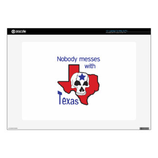"""Nobody Messes With Texas Decals For 15"""" Laptops"""