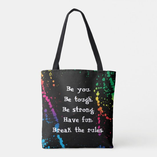 [Nobody Remembers Good Girl] Paint Splatter Black Tote Bag