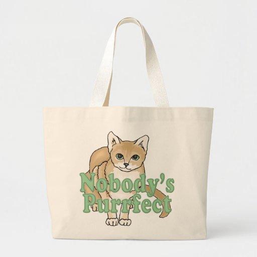 Nobody's Purrfect Tan Cat Jumbo Tote Bag