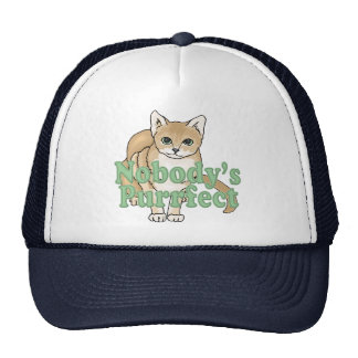 Nobody's Purrfect Tan Cat Trucker Hat