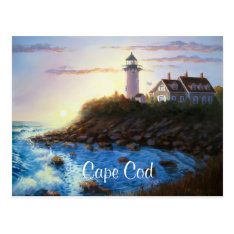 Nobska Lighthouse Cape Cod Ma Painting Postcard at Zazzle