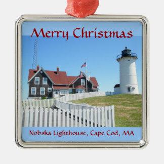 Nobska Lighthouse Merry Christmas Ornament