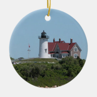Nobska Point Light  Woods Hole Falmouth Ceramic Ornament