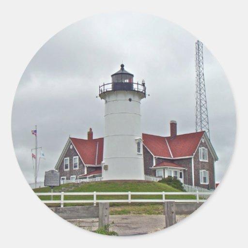 Nobska Point Lighthouse Series Classic Round Sticker