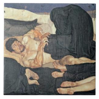 Noche, 1890 (aceite en lona) azulejo cuadrado grande