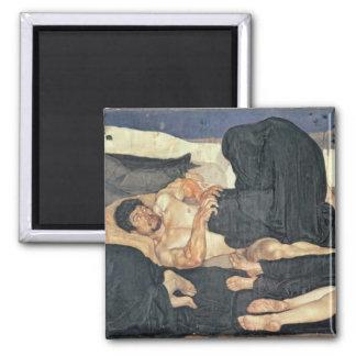 Noche, 1890 (aceite en lona) imán cuadrado