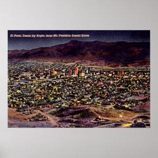 Noche 1940 de El Paso, Tejas Birdseye Póster