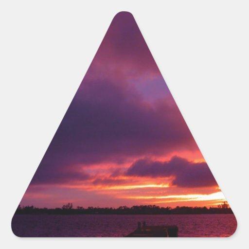 Noche abandonada puesta del sol calcomanías trianguladas personalizadas