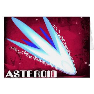 Noche ardiente asteroide tarjeta de felicitación