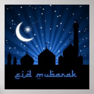 Noche azul de la mezquita de Eid - poster