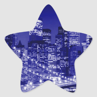 Noche azul de New York City Pegatina Forma De Estrella Personalizada