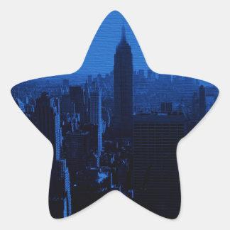 Noche azul de New York City Pegatinas Forma De Estrellaes Personalizadas