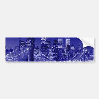 Noche azul de New York City Pegatina Para Auto