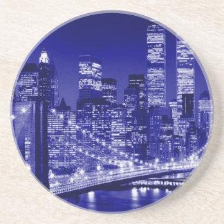 Noche azul de New York City Posavasos Diseño