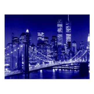 Noche azul de New York City Tarjetas Postales