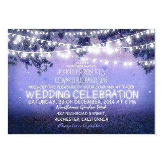 noche azul y boda rústico de las luces del jardín invitacion personalizada
