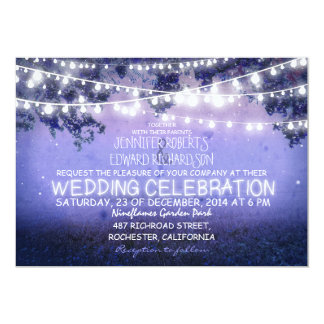 """noche azul y boda rústico de las luces del jardín invitación 5"""" x 7"""""""