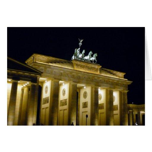 noche Berlín de Brandeburgo Tarjeta De Felicitación