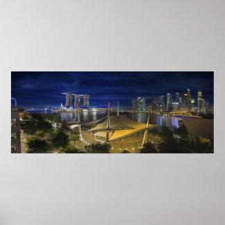 Noche central del horizonte del distrito financier póster