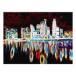 Noche colorida de la ciudad de la iluminación impresión fotográfica