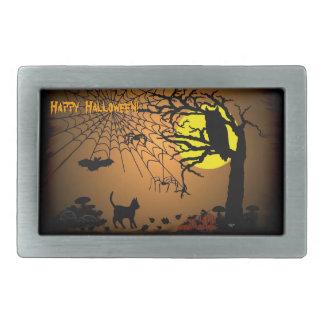 ¡Noche de Halloween, feliz Halloween! Hebilla De Cinturon Rectangular