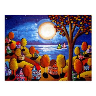 Noche de la caída debajo de los veleros de la luna tarjeta postal