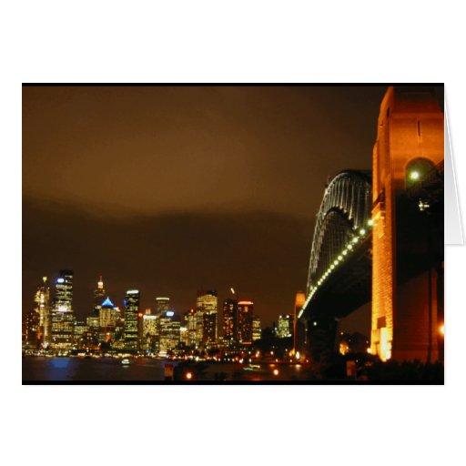noche de la ciudad de Sydney Tarjeta De Felicitación