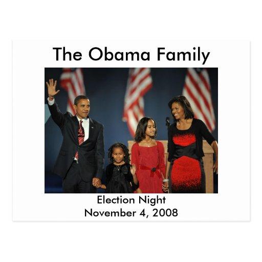 Noche de la elección de la familia de Obama Tarjeta Postal