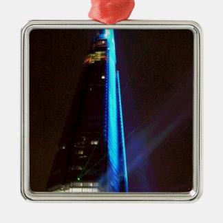 Noche de la inauguración de la presentación de luz adorno navideño cuadrado de metal