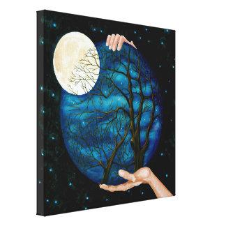 Noche de la luna grande impresiones en lona estiradas