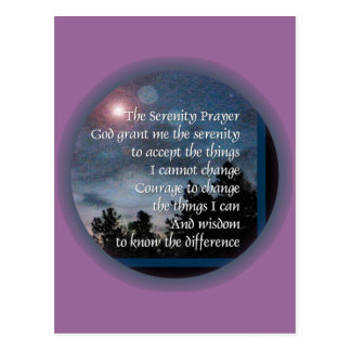Noche de la luz del rezo de la serenidad tarjeta postal