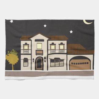 Noche de la mansión toalla de cocina