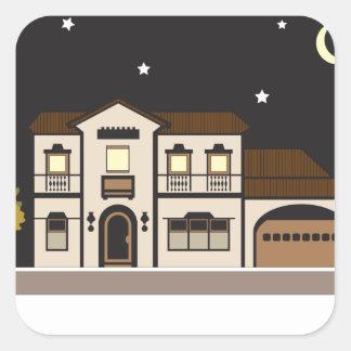 Noche de la mansión pegatina cuadrada