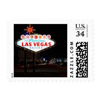 Noche de la muestra de Vegas de la postal Sellos
