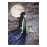 Noche de la tarjeta de felicitación del lobo