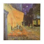 Noche de la terraza del café, impresionismo del azulejo cuadrado pequeño